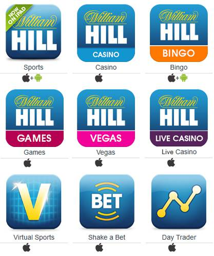 Todas as apps disponíveis do William Hill