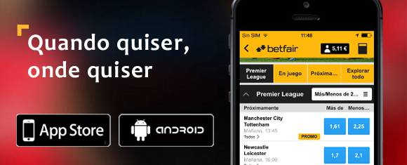 App Betfair Apple e Android